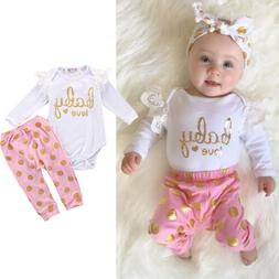Infant Newborn printed letter shirt and dot Pants outfits cl