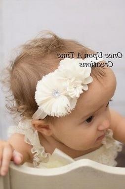 Ivory Flower Baby Girl Headband Christmas Hair Bow - Christe