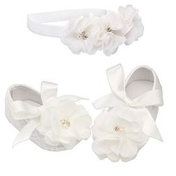 """Petals"" Ivory Lace Baptism Christening Shoe and Headband Se"