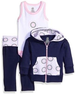 Yoga Sprout Baby Girls 3 Piece Jacket, Bodysuit and Pant Set