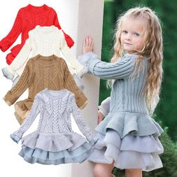 Kid Baby Girl Knitted Sweater Winter Pullover Crochet Tutu D