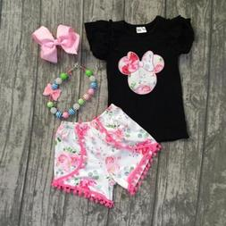 USA Kid Baby Girl Minnie Mouse Clothes T-shirt Tops +Pants S