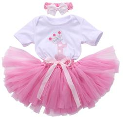 Kids Baby Girl 1st First Birthday Dress One Year Clothing Se