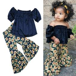 Kids Baby Girl Clothes T-Shirt Tops + Floral Pants Outfits 2