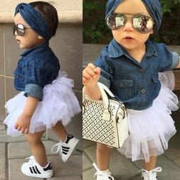 Kids Baby Girl Denim Shirt Clothes+Lace Tulle Skirts Dress H