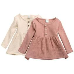 Kids Baby Girl Long Sleeve Cotton Linen Mini Dress Princess