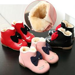 Kids Baby Girl Snow Boots Winter Warm Fur Lined Shoes Leathe