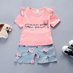 Kids Baby Girls Clothes Outfits Sets T shirt + Pants Childre
