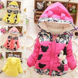 Kids Baby Girls Floral Minnie Mouse Hooded Jacket Winter War