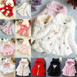 Kids Baby Girls Fleece Coats Tops Cloak Jackets Clothes Wint
