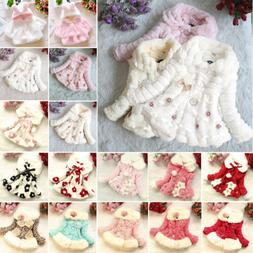 Kids Girl Fur Warm Hooded Coat Baby Fleece Jacket Winter Out