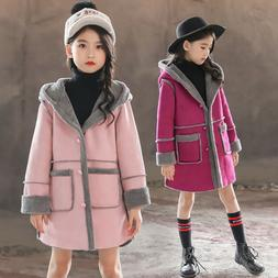 Kids Baby Girls Long Hooded Jackets Coat Tops Winter Warm Fl