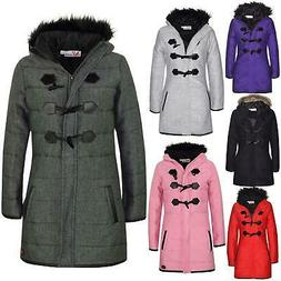 Kids Coat Girls Fleece Padded Parka Jacket Long Faux Fur Hoo