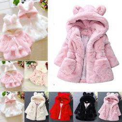 Kids Girls Fleece Coats Outwear Cloak Jackets Clothes Bunny