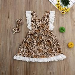 Kids Toddler Baby Girl Dress Leopard Pageant Wedding Party D