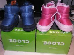 CROCS KOSMO BOOTS infant LITTLE PINK OR BLUE SZ 2 gift boxed