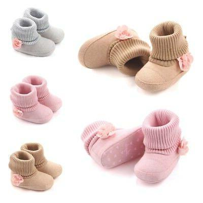 0-12M Baby Girl Flower Winter Boots Shoes Toddler Cotton War