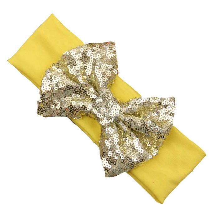 12PCS Baby Sequined Bow Head