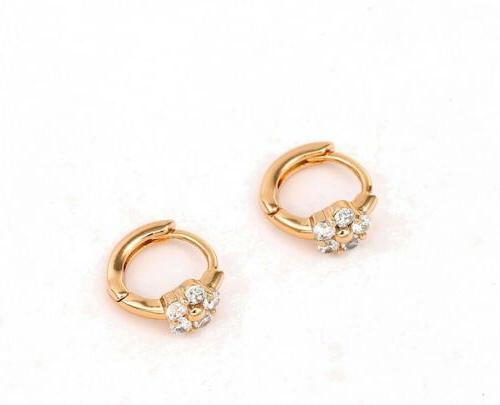 18k Plated Tiny Small Crystal Baby Earrings