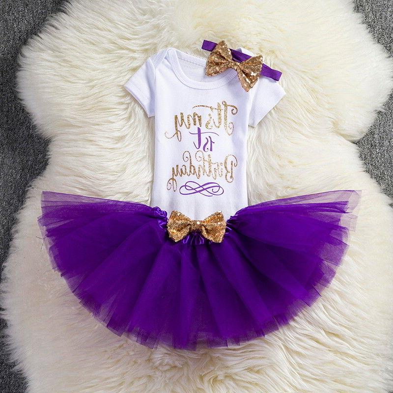 1st Party Tutu Baby Girl Gold Bow infant Clothes
