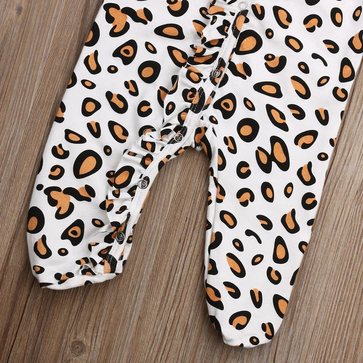 2019 <font><b>Baby</b></font> Leopard Cotton Footies sleeping Children newborn infant