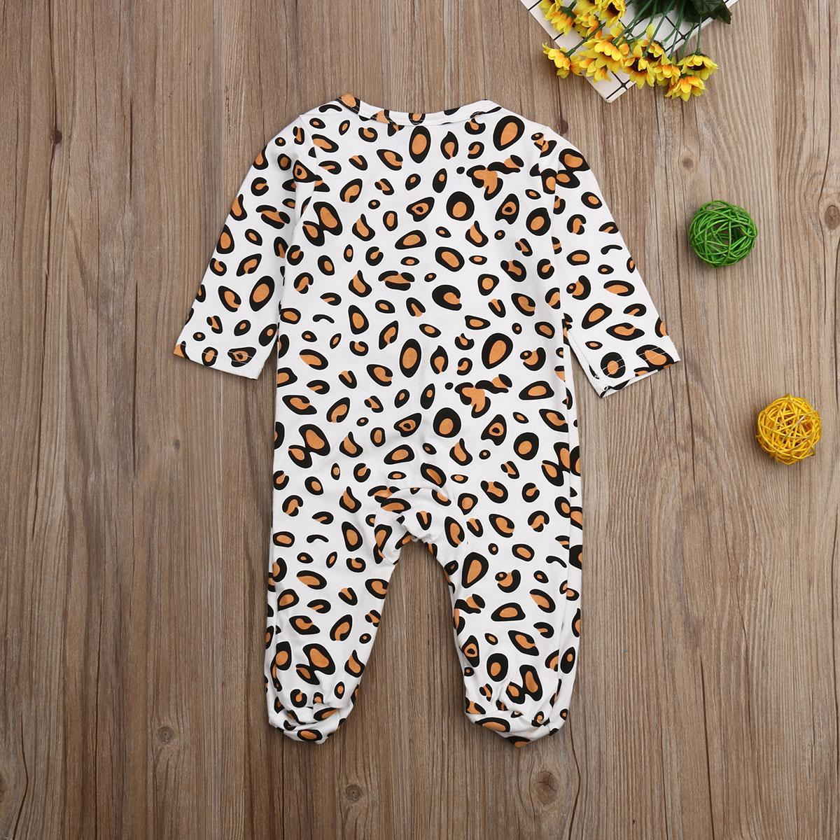 Leopard Cotton soft Footies Sleepwear sleeping suit for Kid clothes Children infant