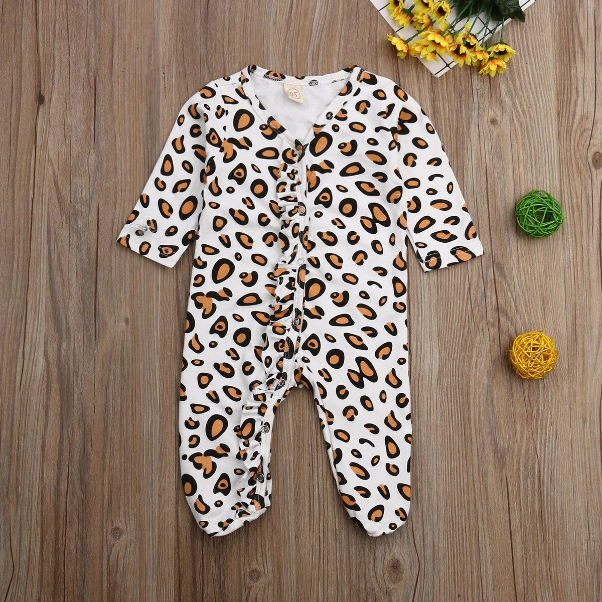 2019 Leopard Footies Sleepwear for Kid clothes Children
