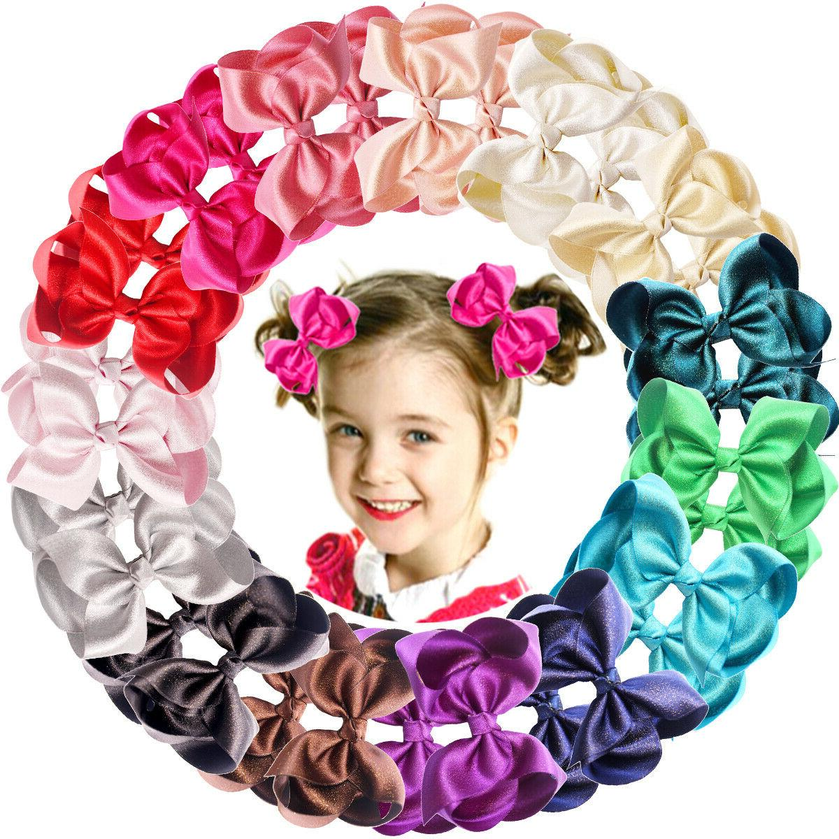 20pc LOT Baby Girls Big 6 Inch Hair Bows Alligator Hair Clip