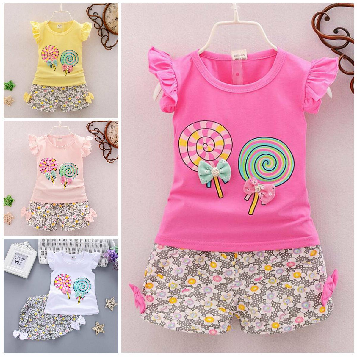 2pc baby girl clothes summer Tee +short pants kids girls cas