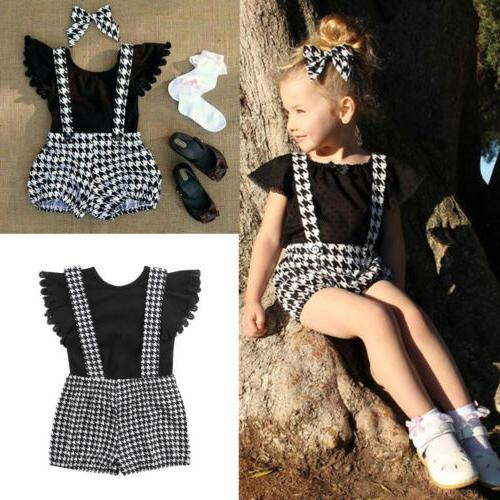 2PCS Girl Clothes T-shirt Tops+Bib Dresses Outfit