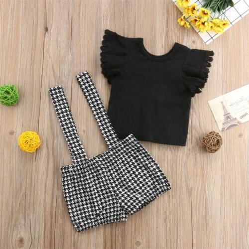 2PCS Girl Clothes Tops+Bib Dresses