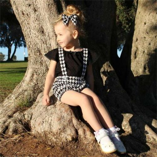 2PCS Girl Ruffle Tops+Bib Dresses Outfit