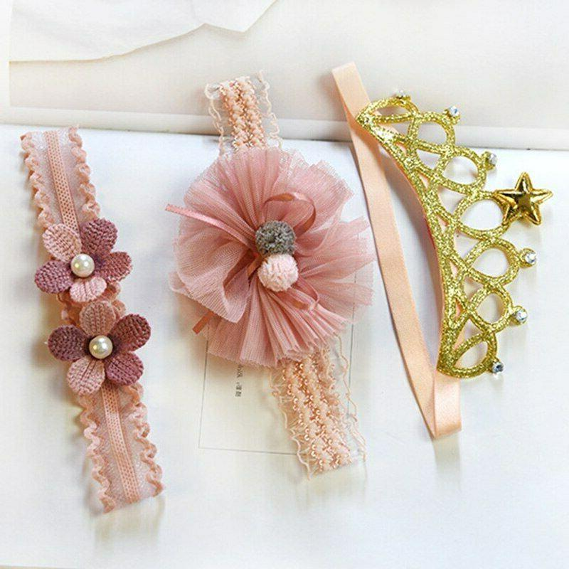 3 Pcs Baby Crown Newborn Band Turban