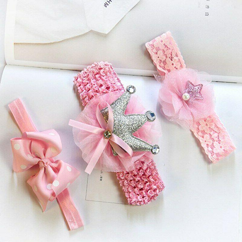3 Pcs Baby Headband Crown Bows Newborn Band