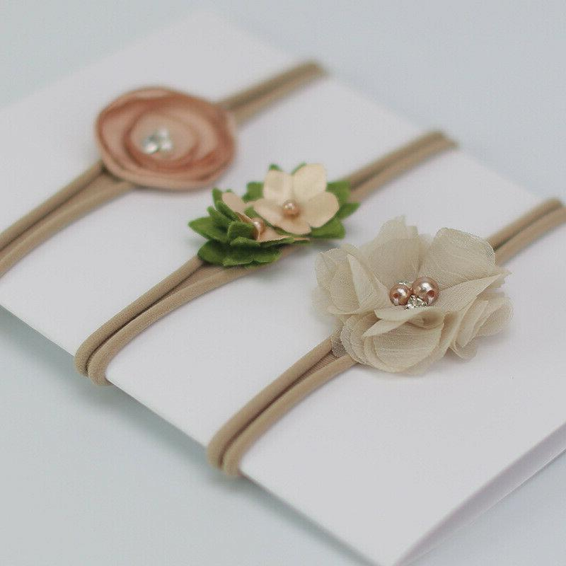 3 Crown Flower Newborn Elastic Band