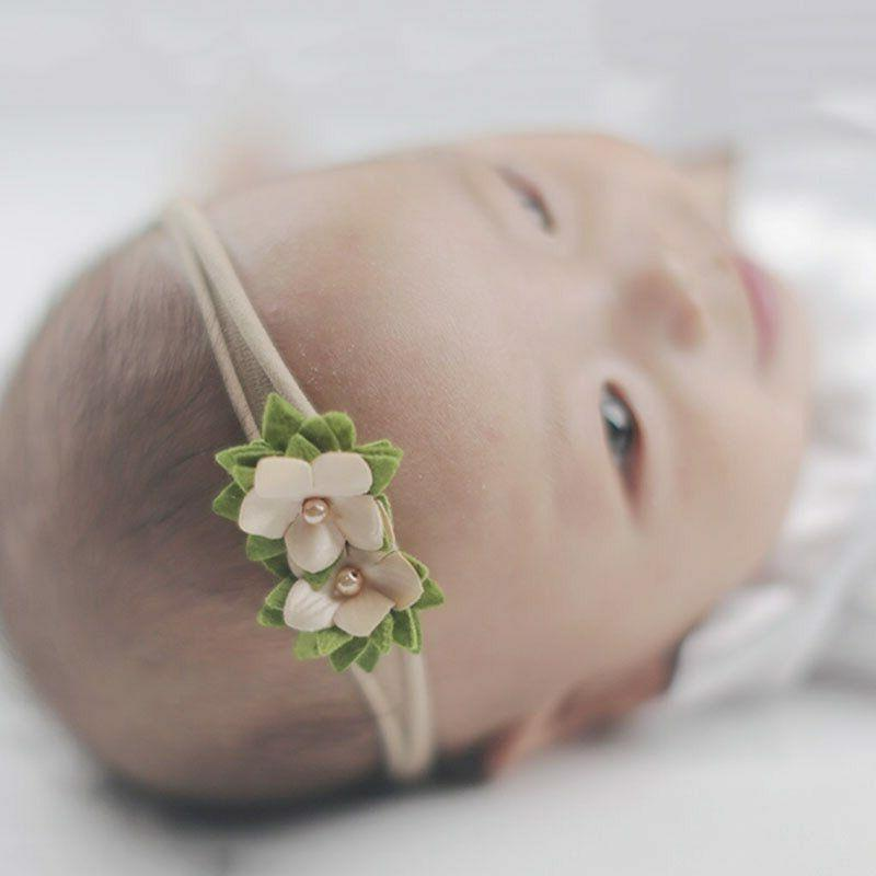 3 Baby Crown Flower Newborn Elastic Hair Band