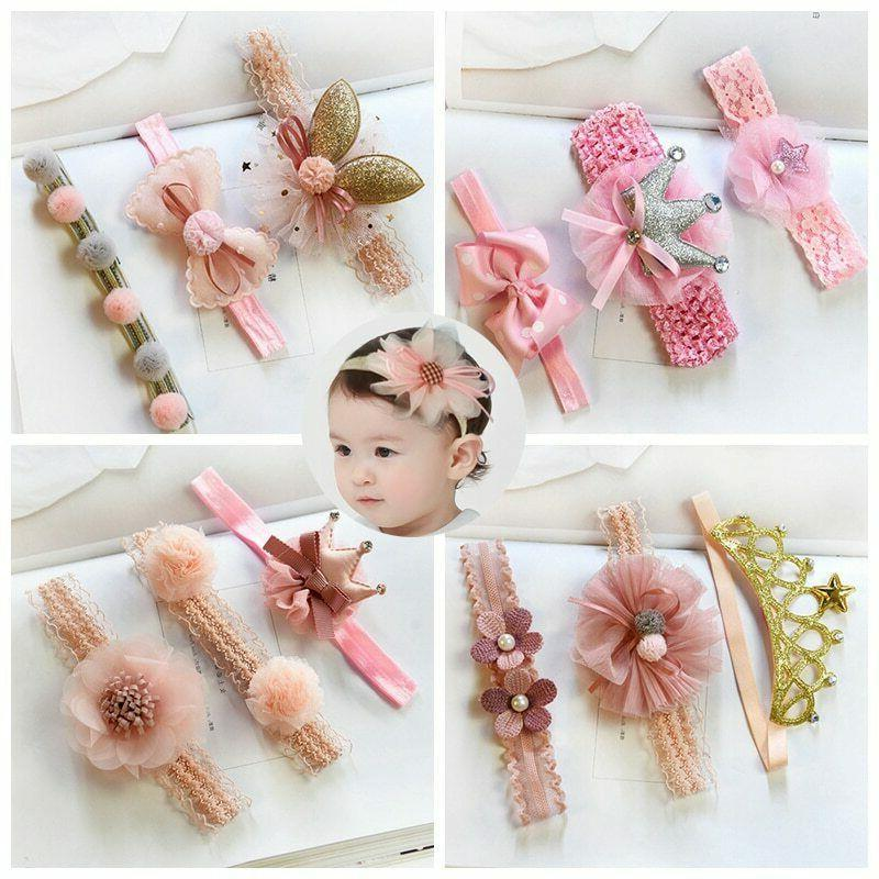 3 pcs baby headband crown flower bows