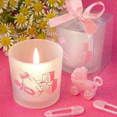 30 120 pink baby girl themed candle