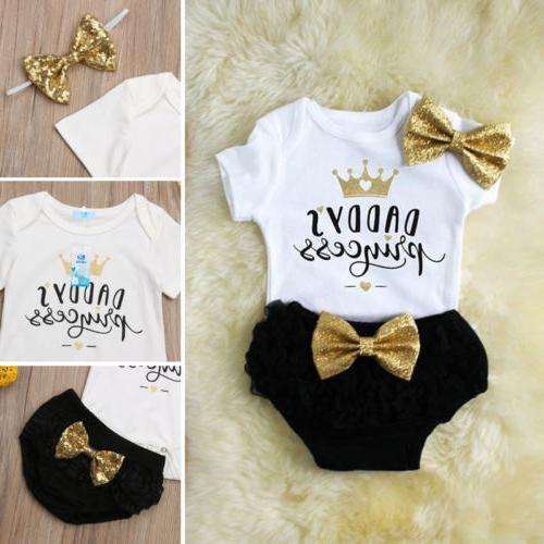 3PCS Baby Girl Romper+Tutu Shorts US
