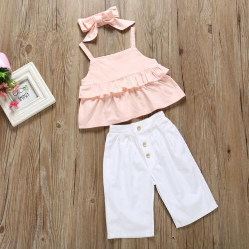3PCS Kid Ruffle Trousers Outfit 1-6Y US