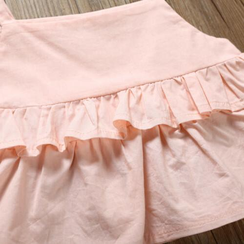 3PCS Kid Baby Girl Ruffle Trousers Outfit Clothes 1-6Y US
