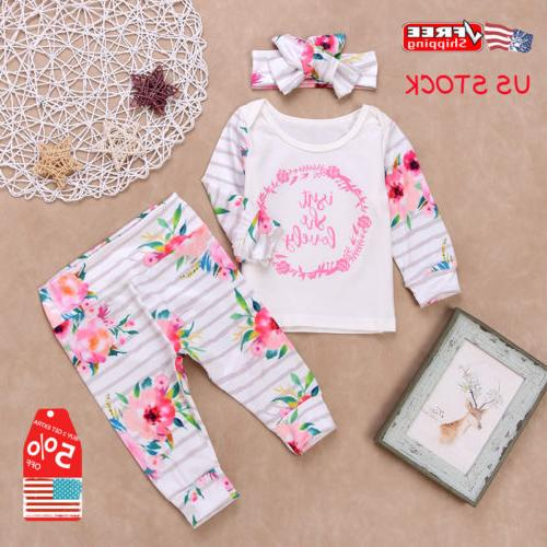 3PCS Newborn Infant Baby Girls Floral Shirt+Pants Trousers H