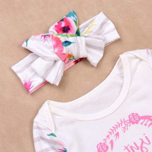 3PCS Newborn Girls Shirt+Pants Headband