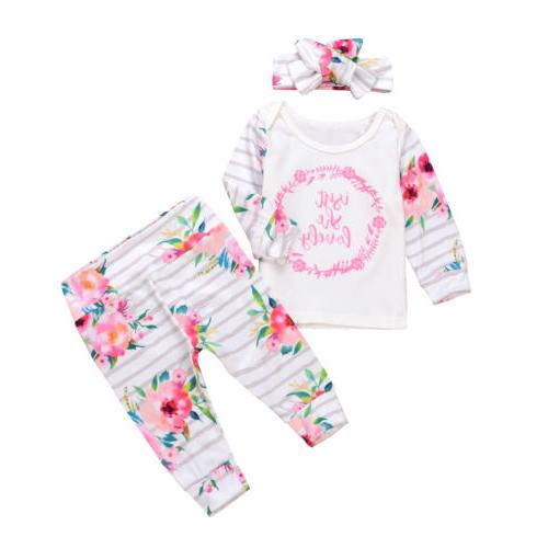 3PCS Girls Floral Shirt+Pants Headband