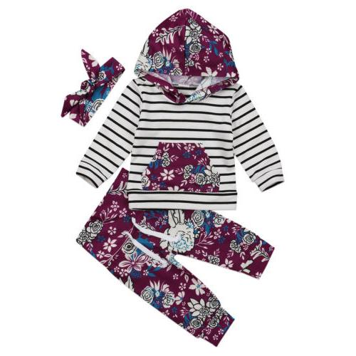 3pcs Newborn Toddler Baby Girl Hooded Sweater Tops+Pants Out