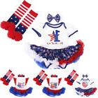 4th of July Baby Girl 1st Independence Day US Flag Romper Dr