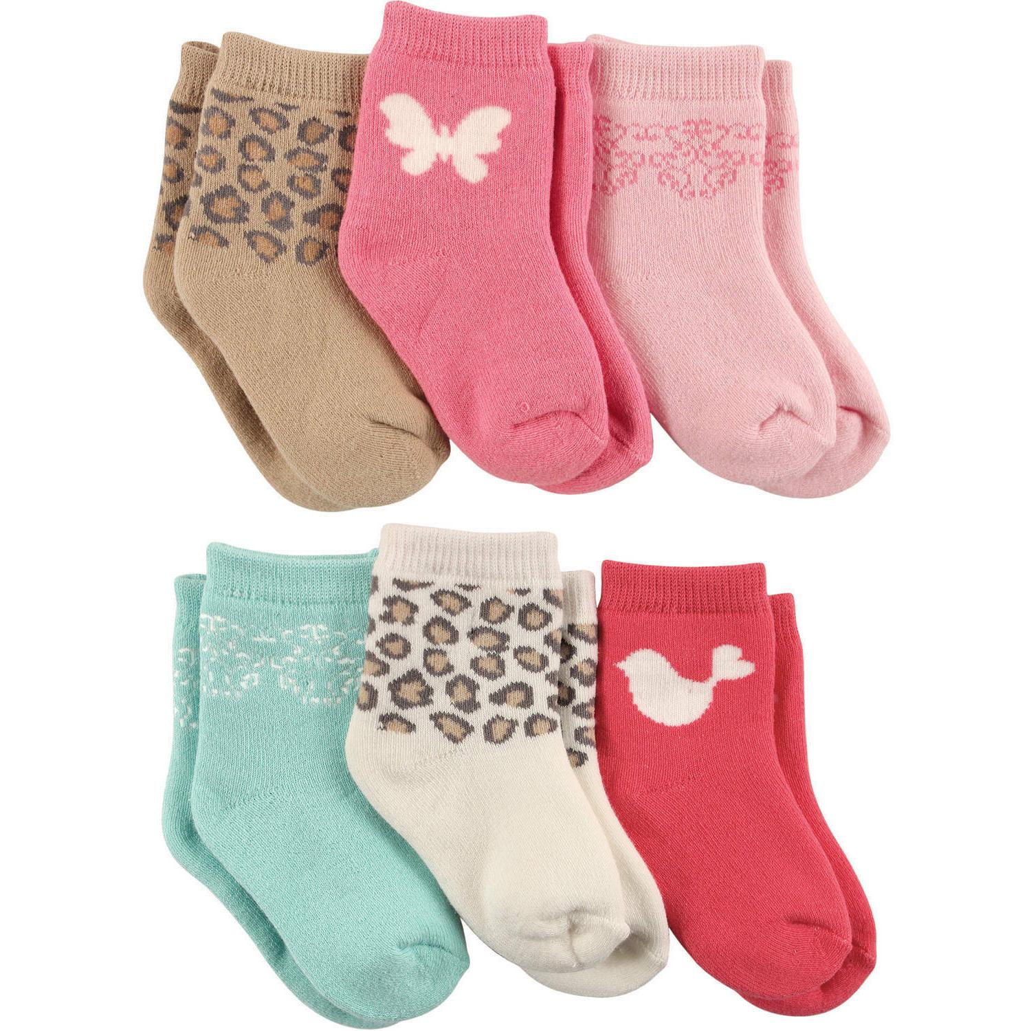 LUVABLE FRIENDS 6 PACK COMPUTER CUSHION SOCKS BABY GIRLS 0-6