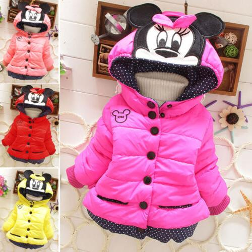 Baby Girls Toddler Kids Mickey Mouse Hooded Jacket Coat Wint