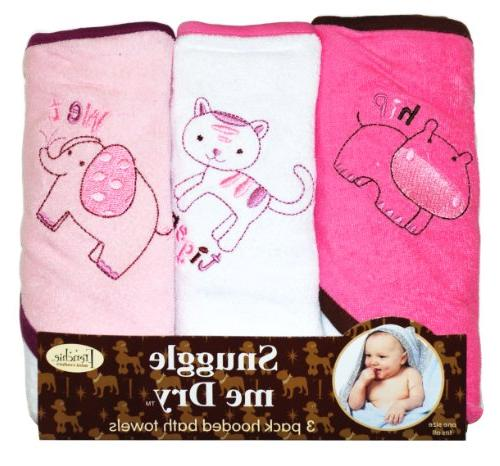 Wild Animal Hooded Bath Towel Set 3 Pack Boy or Girl Frenchie Mini Couture