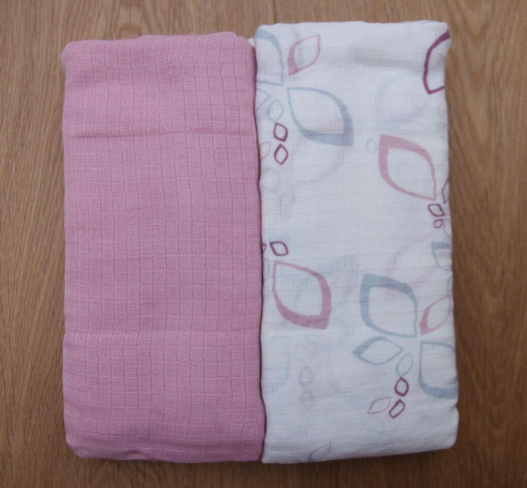 Aden Anais Baby Girl Bamboo Swaddle Blanket~White, Pink & Gr